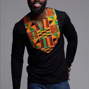 Men's Black Long Sleeve Kente Appliqué Top